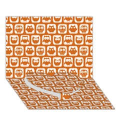 Orange And White Owl Pattern Heart Bottom 3D Greeting Card (7x5)