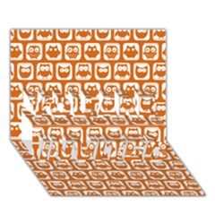 Orange And White Owl Pattern You Are Invited 3d Greeting Card (7x5)