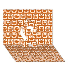 Orange And White Owl Pattern Ribbon 3D Greeting Card (7x5)