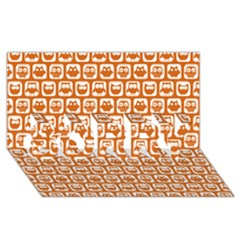 Orange And White Owl Pattern Sorry 3d Greeting Card (8x4)