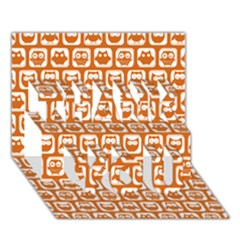 Orange And White Owl Pattern THANK YOU 3D Greeting Card (7x5)