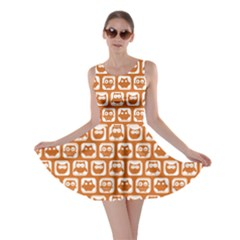 Orange And White Owl Pattern Skater Dresses