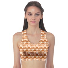 Orange And White Owl Pattern Sports Bra