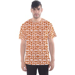 Orange And White Owl Pattern Men s Sport Mesh Tees