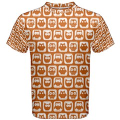Orange And White Owl Pattern Men s Cotton Tees