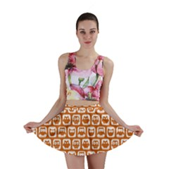 Orange And White Owl Pattern Mini Skirts
