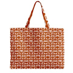 Orange And White Owl Pattern Tiny Tote Bags