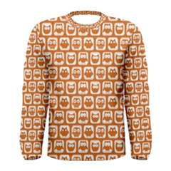 Orange And White Owl Pattern Men s Long Sleeve T-shirts