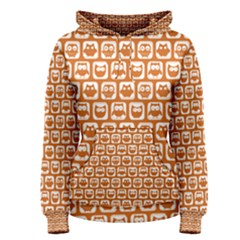 Orange And White Owl Pattern Women s Pullover Hoodies