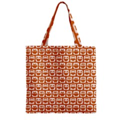 Orange And White Owl Pattern Zipper Grocery Tote Bags