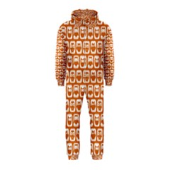 Orange And White Owl Pattern Hooded Jumpsuit (Kids)