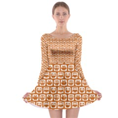 Orange And White Owl Pattern Long Sleeve Skater Dress