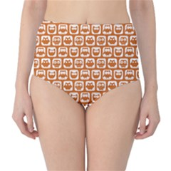 Orange And White Owl Pattern High-Waist Bikini Bottoms