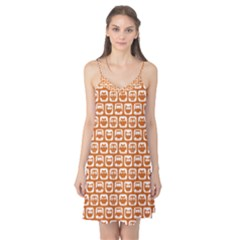 Orange And White Owl Pattern Camis Nightgown
