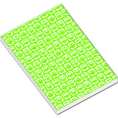 Lime Green And White Owl Pattern Large Memo Pads