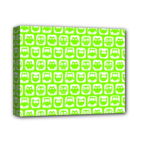 Lime Green And White Owl Pattern Deluxe Canvas 14  x 11