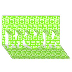 Lime Green And White Owl Pattern Mom 3d Greeting Card (8x4)