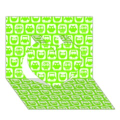 Lime Green And White Owl Pattern Heart 3D Greeting Card (7x5)