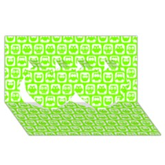 Lime Green And White Owl Pattern Twin Hearts 3d Greeting Card (8x4)