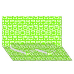 Lime Green And White Owl Pattern Twin Heart Bottom 3D Greeting Card (8x4)
