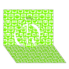Lime Green And White Owl Pattern Peace Sign 3D Greeting Card (7x5)