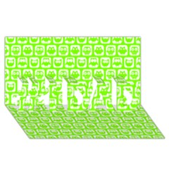 Lime Green And White Owl Pattern #1 DAD 3D Greeting Card (8x4)