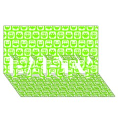 Lime Green And White Owl Pattern PARTY 3D Greeting Card (8x4)