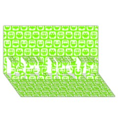 Lime Green And White Owl Pattern Believe 3d Greeting Card (8x4)