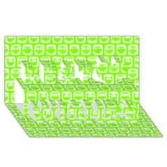 Lime Green And White Owl Pattern Best Wish 3d Greeting Card (8x4)