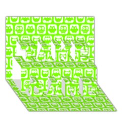 Lime Green And White Owl Pattern Take Care 3d Greeting Card (7x5)