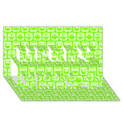 Lime Green And White Owl Pattern Merry Xmas 3D Greeting Card (8x4)