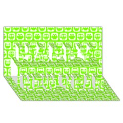 Lime Green And White Owl Pattern Happy New Year 3D Greeting Card (8x4)