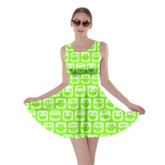 Lime Green And White Owl Pattern Skater Dresses