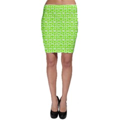 Lime Green And White Owl Pattern Bodycon Skirts