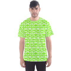 Lime Green And White Owl Pattern Men s Sport Mesh Tees