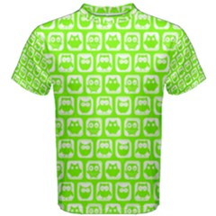 Lime Green And White Owl Pattern Men s Cotton Tees