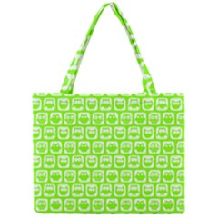 Lime Green And White Owl Pattern Tiny Tote Bags