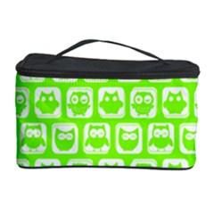 Lime Green And White Owl Pattern Cosmetic Storage Cases