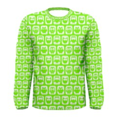 Lime Green And White Owl Pattern Men s Long Sleeve T Shirts
