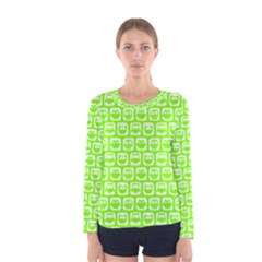 Lime Green And White Owl Pattern Women s Long Sleeve T-shirts