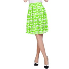Lime Green And White Owl Pattern A-Line Skirts