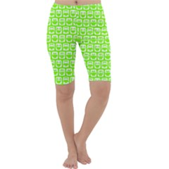 Lime Green And White Owl Pattern Cropped Leggings