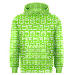 Lime Green And White Owl Pattern Men s Pullover Hoodies