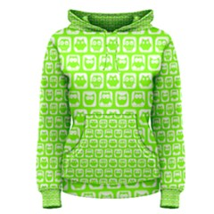 Lime Green And White Owl Pattern Women s Pullover Hoodies