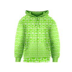 Lime Green And White Owl Pattern Kids Zipper Hoodies