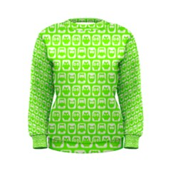 Lime Green And White Owl Pattern Women s Sweatshirts