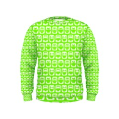 Lime Green And White Owl Pattern Boys  Sweatshirts