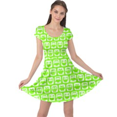 Lime Green And White Owl Pattern Cap Sleeve Dresses