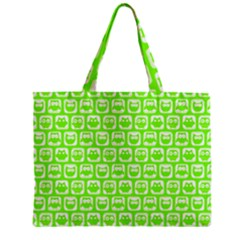 Lime Green And White Owl Pattern Zipper Tiny Tote Bags