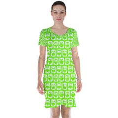 Lime Green And White Owl Pattern Short Sleeve Nightdresses
